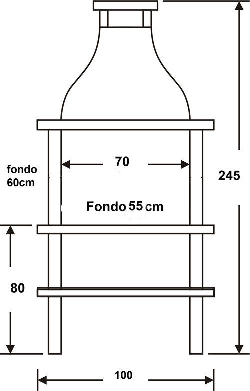 Medidas barbacoa mixta 42001 en 2019 asadores de patio - Medidas de barbacoas ...