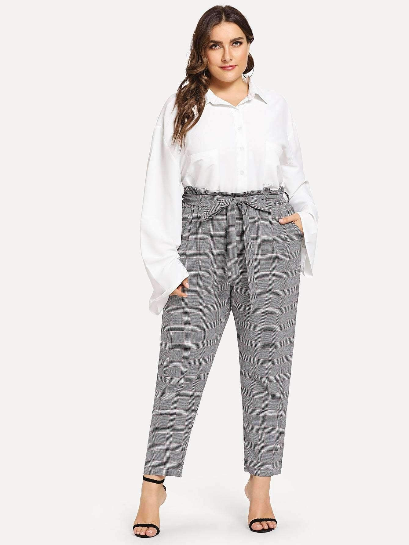 e848c25b560 Glen Plaid Paperbag Waist Pants in 2019   Plus Size Collection ...