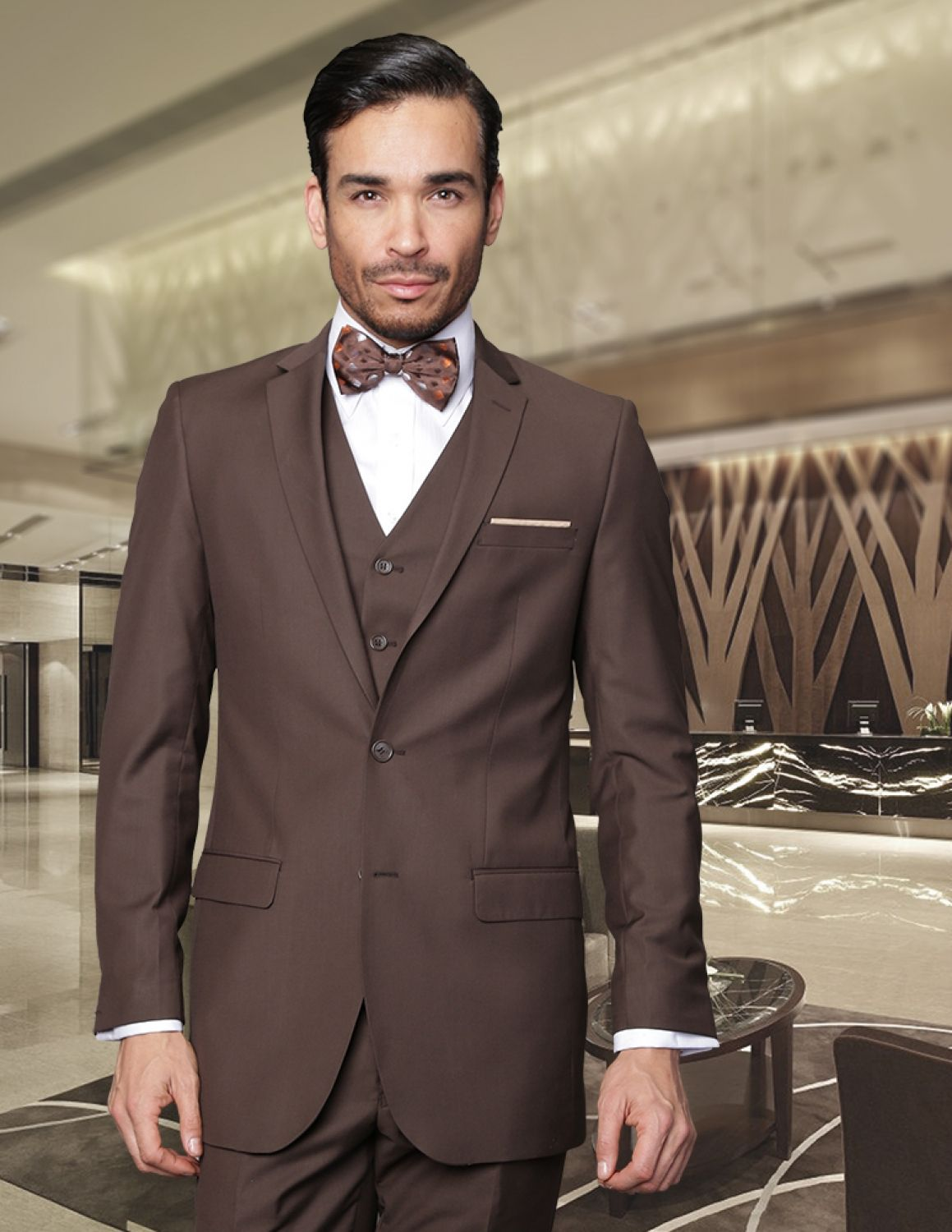 d27d9d67d05c LORENZO BROWN EXTRA SLIM FIT SUPER 150'S 3PC 2 BUTTON WOOL SUIT WITH LOW  VEST EXTRA FINE ITALIAN MADE.