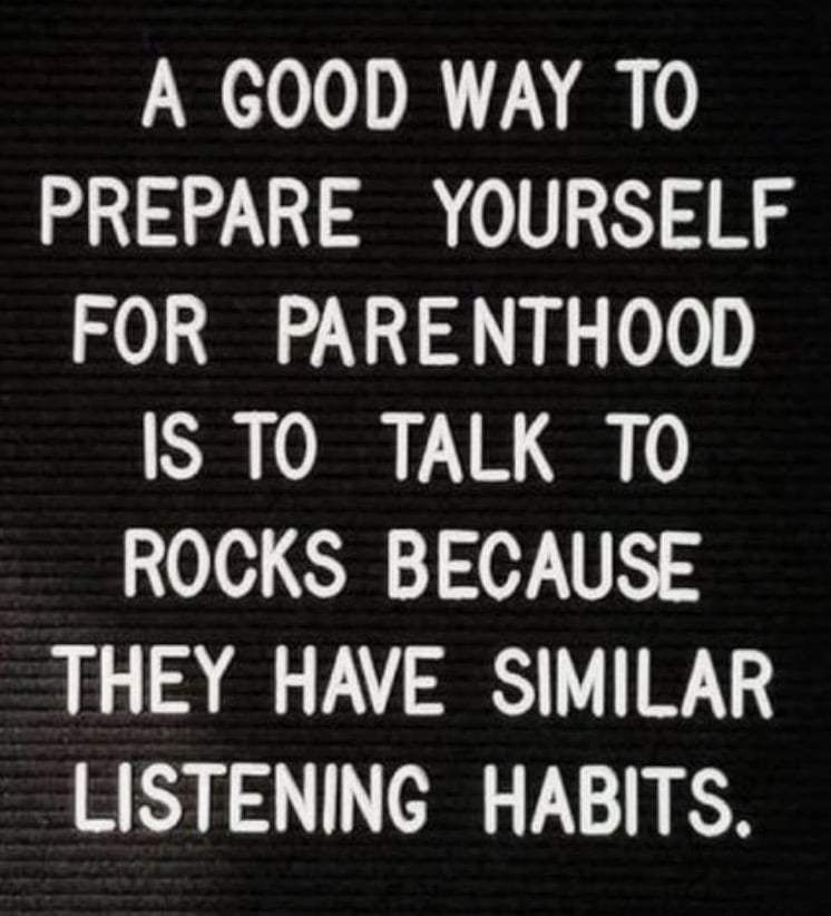 New Funny Mom Funny Mom Memes about Motherhood, Being a Savage Mom & Parenting A good way to prepare yourself for parenthood is to talk to rocks because they have similar listening habits  Check out these are more funny mom memes and funny pictures that moms can totally relate to! #memes #funnymemes #funnypictures #funny #mommemes #mom #parentingmemes #lol #hilarious #humor #memes #memesdaily 3