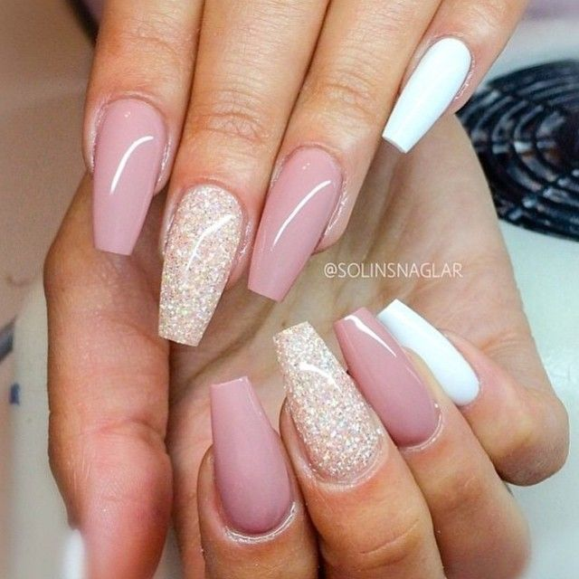 Pink Sparkle And White Nails