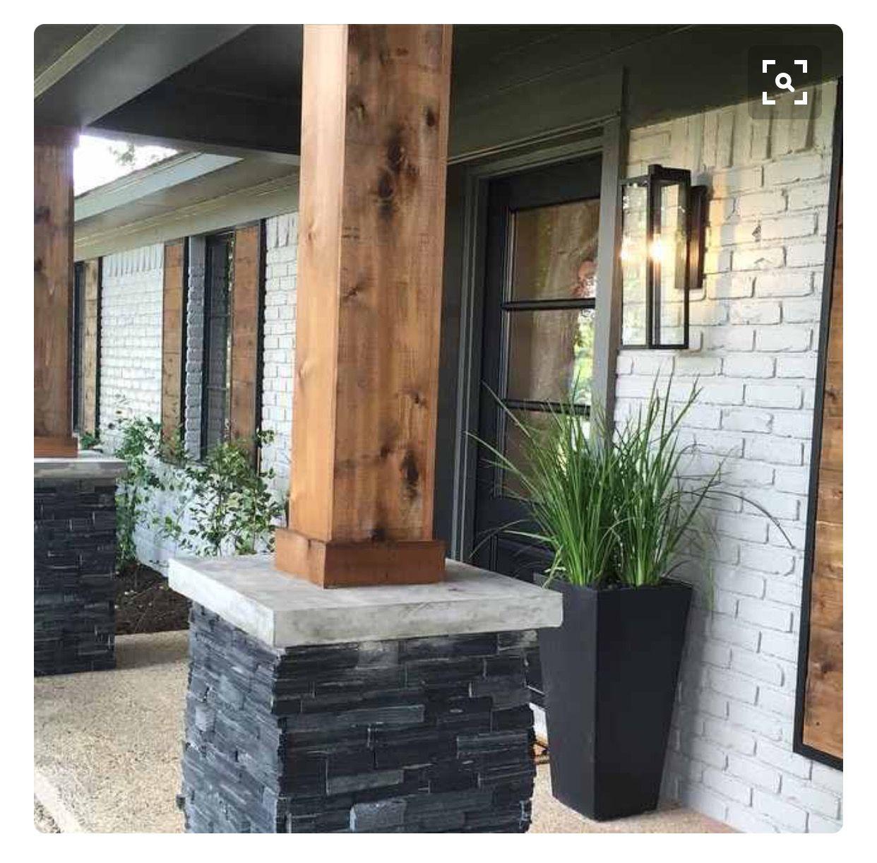 Cedar Wrapped Columns House Exterior Exterior Brick