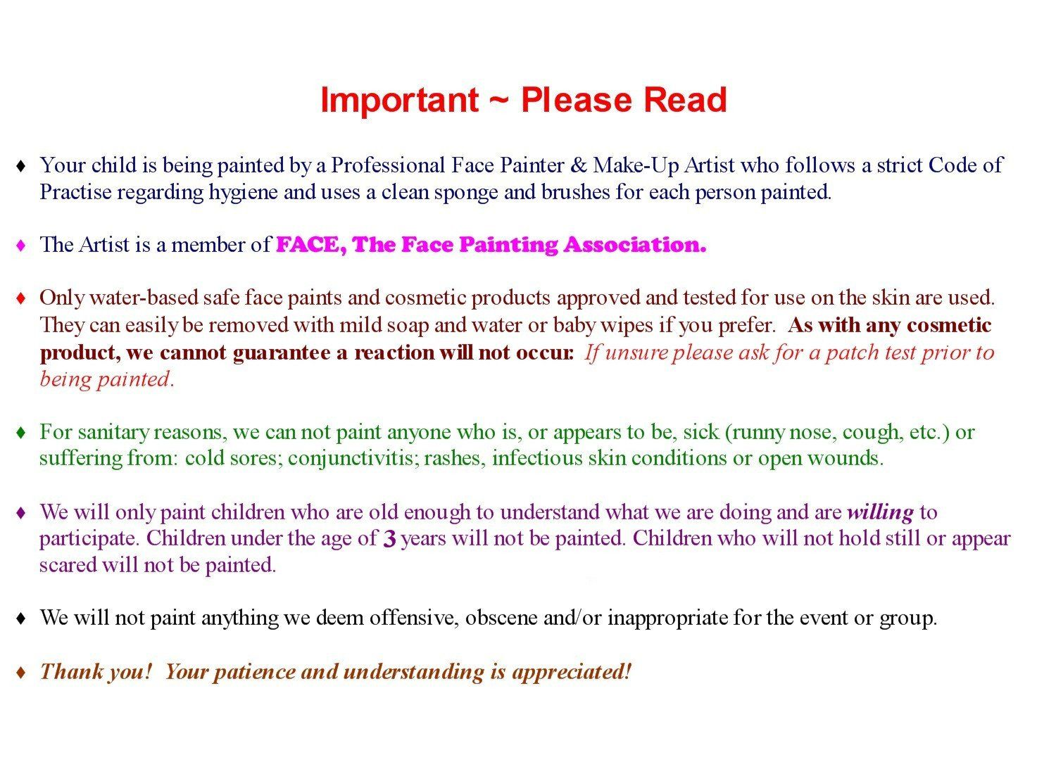Face Painting Contract Template Luxury Disclaimer Template