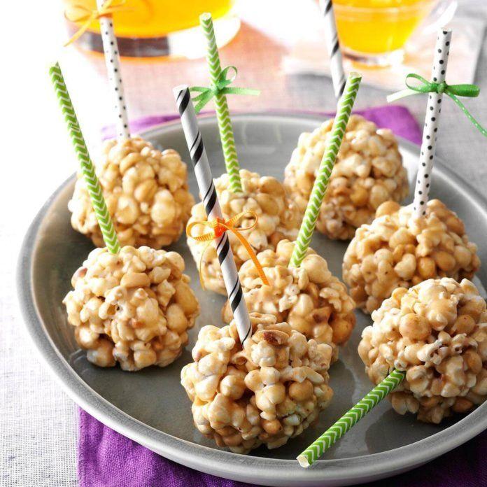 Peanut Butter Popcorn Balls #popcornballs