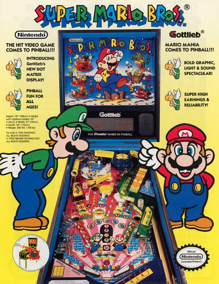 Super Mario Bros Pinball FLYER 1992 Original NOS Gottlieb Artwork Promo  Sheet in 2020 | Pinball, Super mario bros, Mario bros