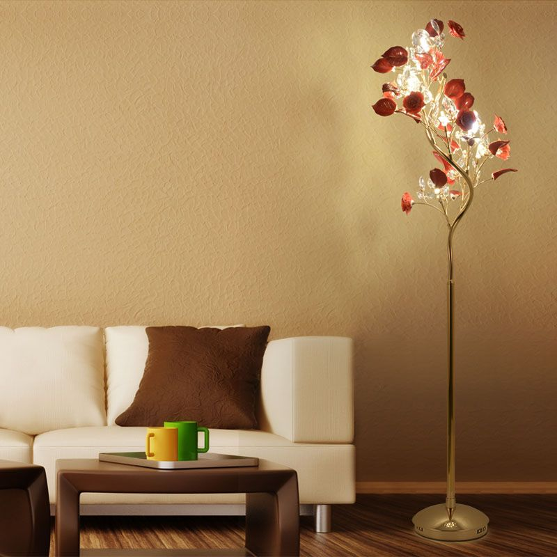 Charming French Garden, Vertical Floor Lamp Modern Ceramic Crystal Lamp Hotel Room  Bedroom Floor Lamps Dining