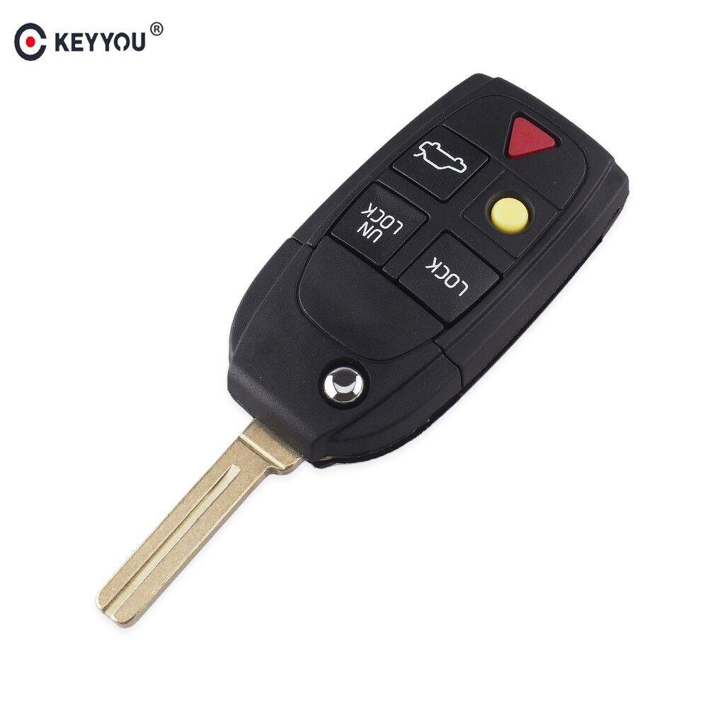Keyyou 10pcs Replacement 5 Buttons Remote Flip Folding Key Shell For Volvo Xc70 Xc90 V50 V70 S60 S80 C30 Fob Car Key Case Key Case Car Keys Fobs