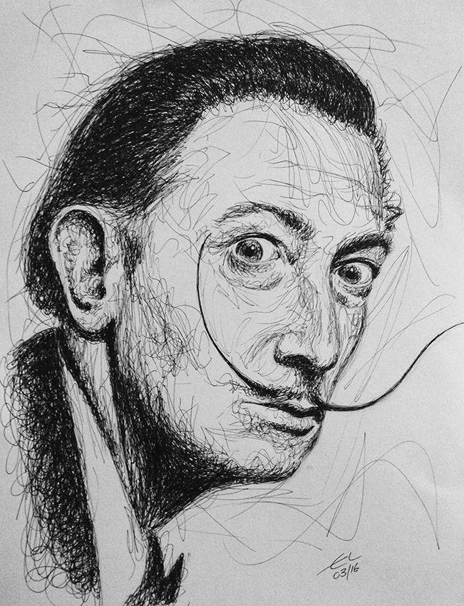 Salvador Dali - Scribble art - Black ink   My Pencil Pen