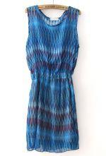 Blue Sleeveless Bandeau Zigzag Chiffon Dress $23.55  #SheInside #hipster #love #cute #fashion #style #vintage