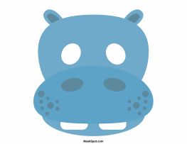 Hippo mask templates including a coloring page version of the mask ...