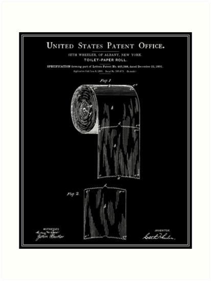 Toilet Paper Roll Patent Black Art Print By Finlaymcnevin With Images Paper Toilet Paper Toilet Paper Roll