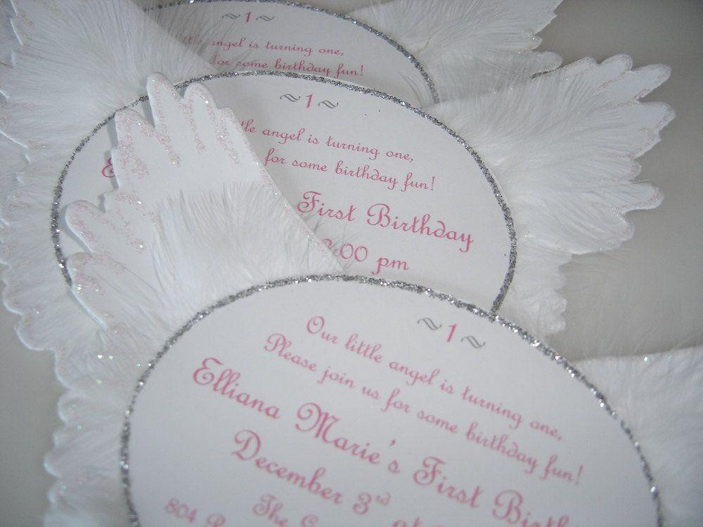 Heaven Sent Angel Wing Invitations 350 via Etsy Baptism