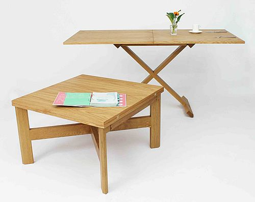 Oak Convertable Table Coffee Dining