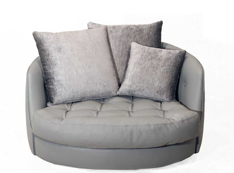 View This Item And Discover Similar Loveseats For Sale At   Large Round  Swivel Chair Upholstered In A High Quality Elephant Gray Leather With  Tufted Seat ...