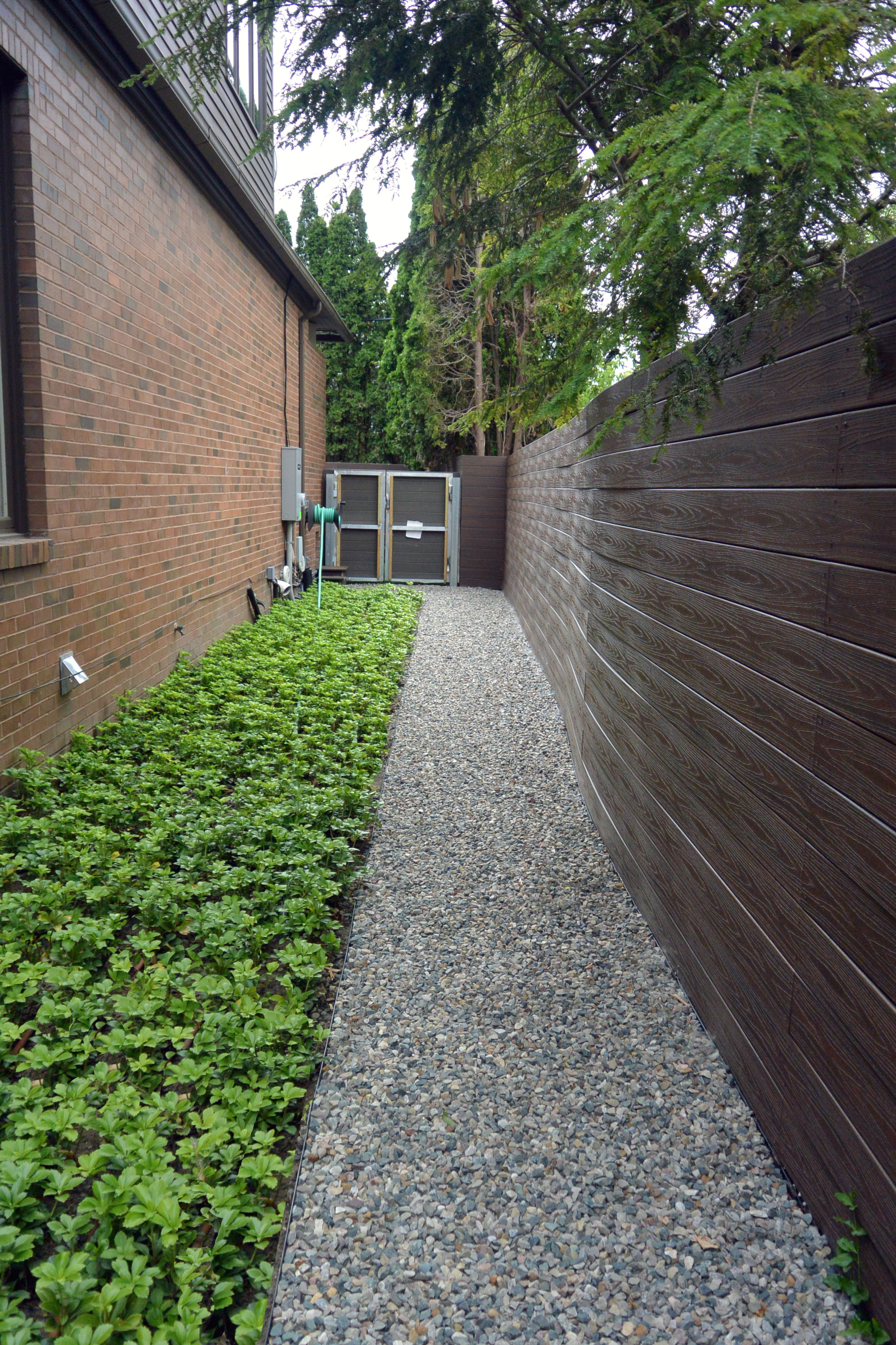 Gravel Pathway With Steel Edging And A Pachysandra Bed
