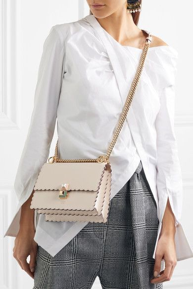 cd7482dca137 Fendi - Kan I Mini Scalloped Leather Shoulder Bag - Ivory