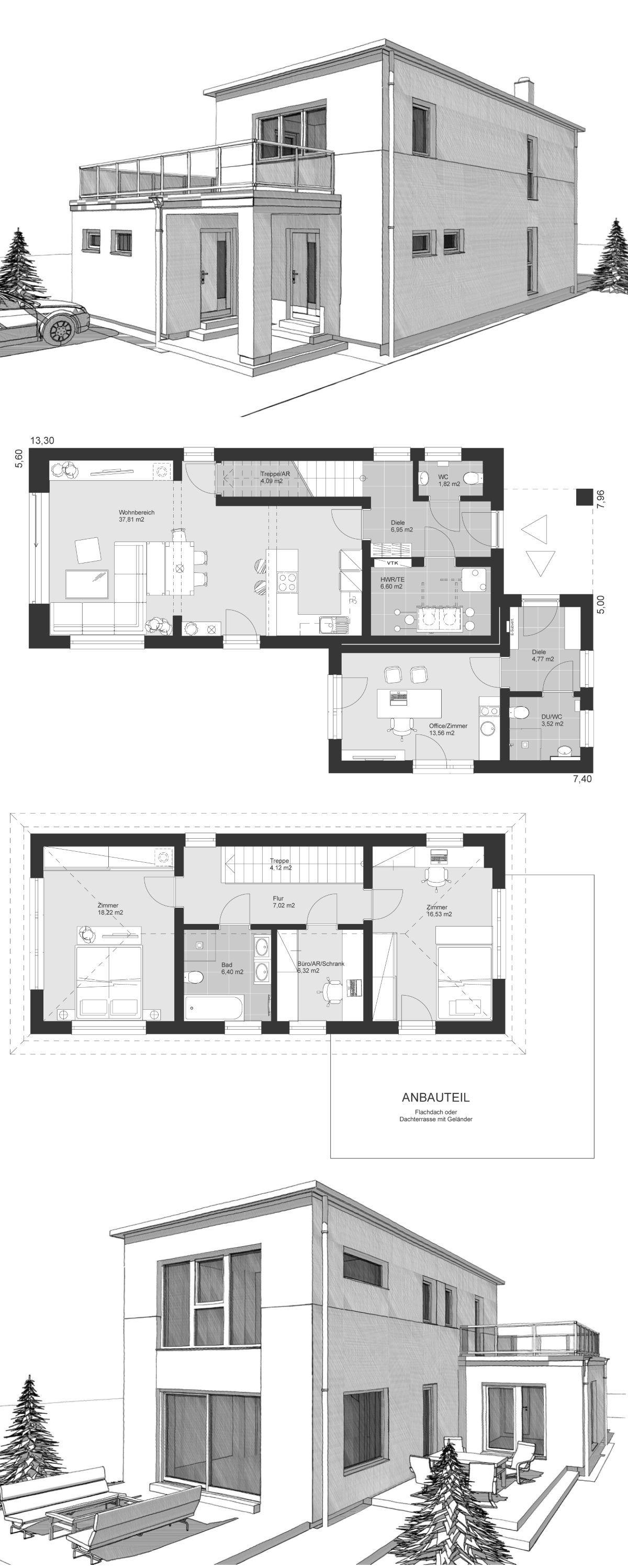 Modernes Einfamilienhaus im Bauhausstil Grundriss schmal