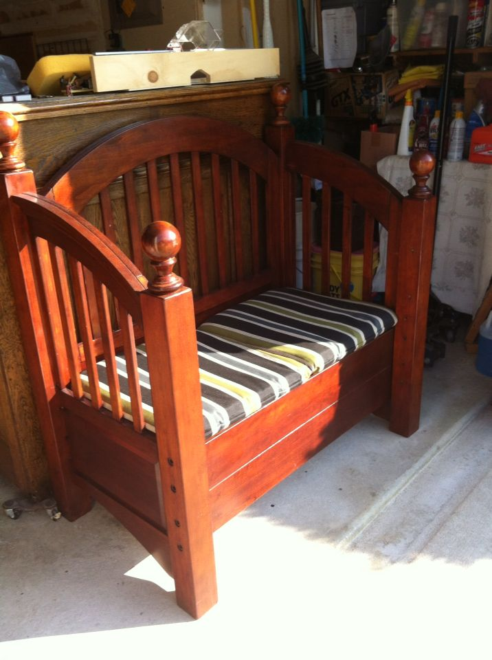 Seat Storage Bench Made From A Single Bed Frame Craft