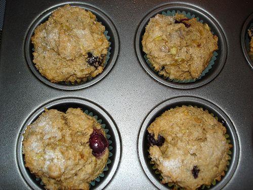 vegan blueberry banana almond muffins.