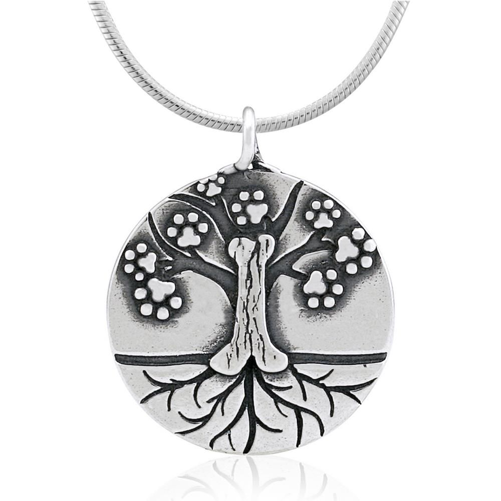 Recycled sterling paw tree of life necklace trees tree of life