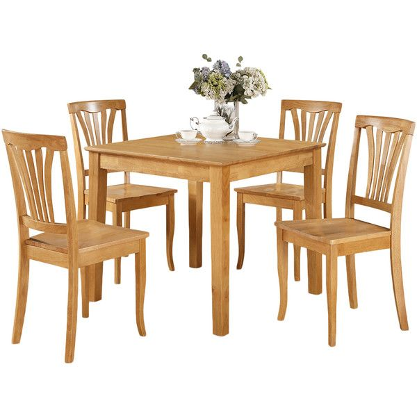 Oak Square Dinette Table And 4 Kitchen Chairs 5 Piece Dining Set ($460)