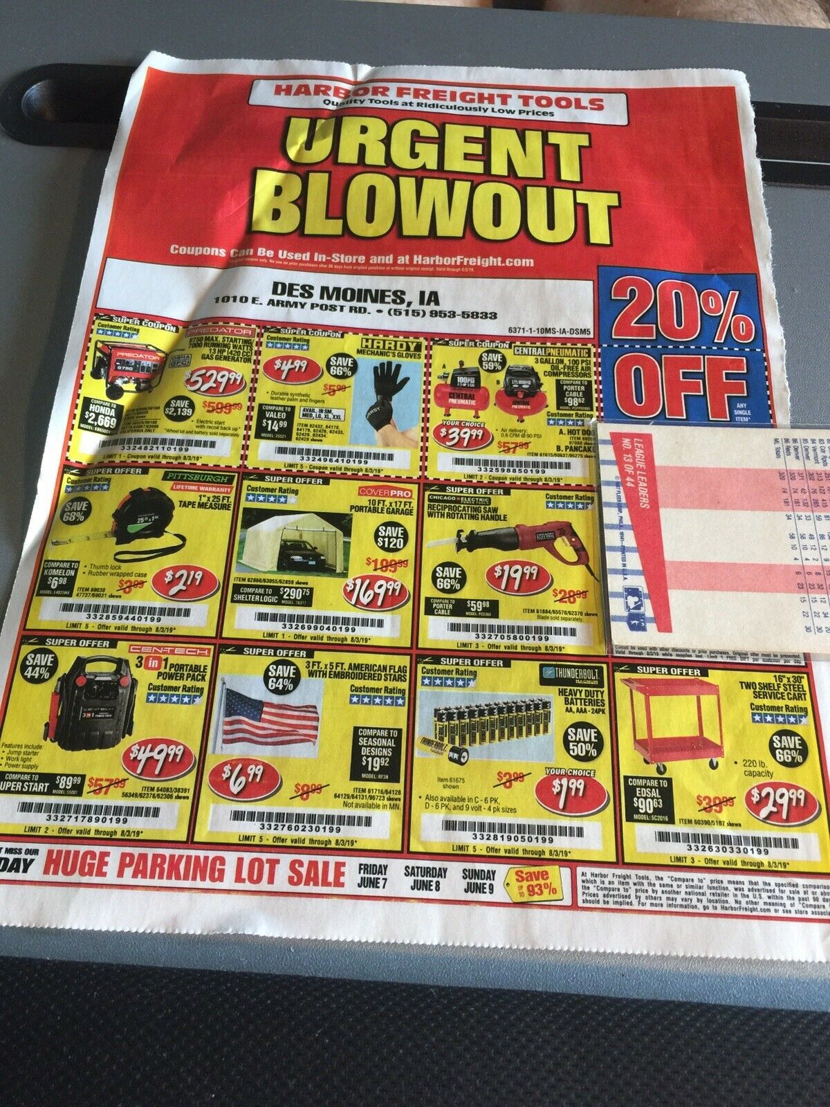 1 One COUPON Harbor Freight Tools 20 Off Single Item