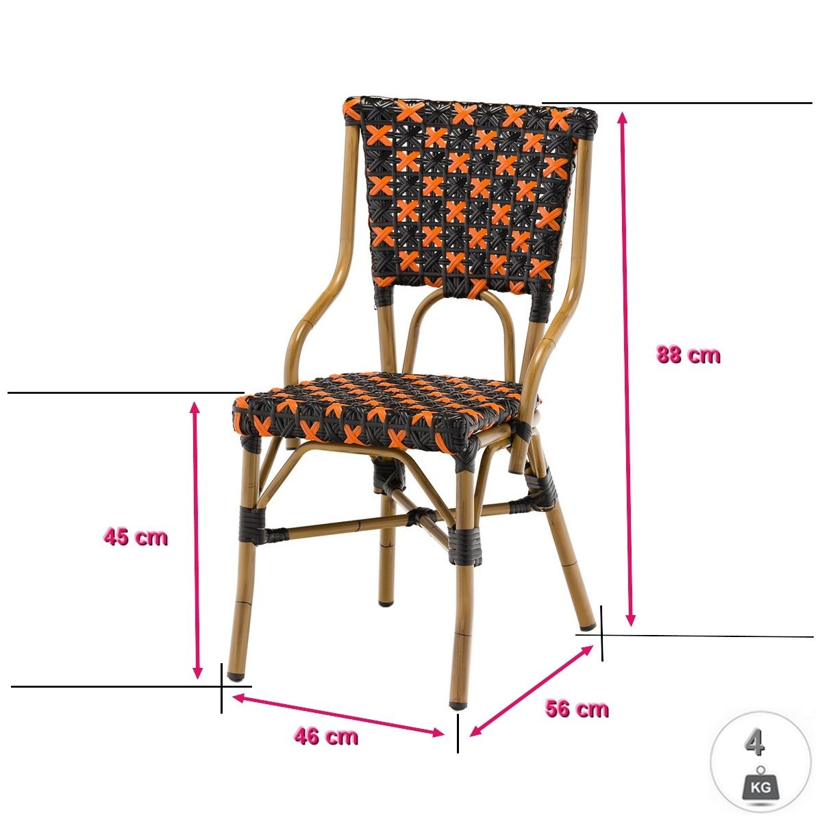 Lot De 6 Chaises Flor En Polyrotin Rotin Design Chaise Bistrot Et Chaise