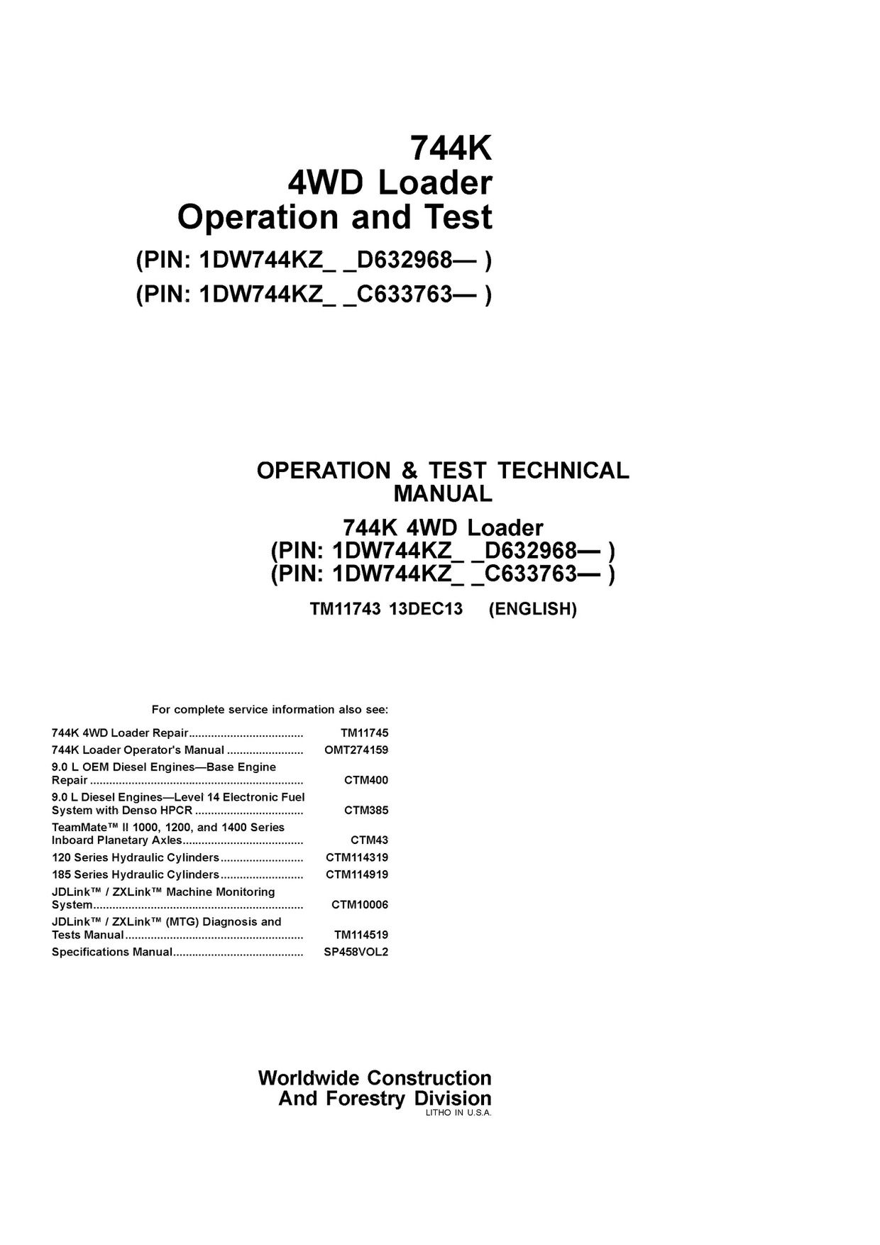 PDF DOWNLOAD JOHN DEERE 744K WHEEL LOADER OPERATION AND TEST TECHNICAL  MANUAL TM11743