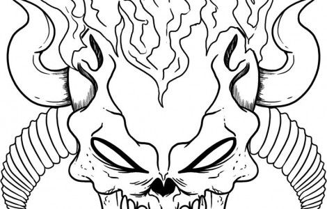 Skulls Flames Colouring Pages Practical Scrappers Colouring Pages Skull Coloring Pages Coloring Pages