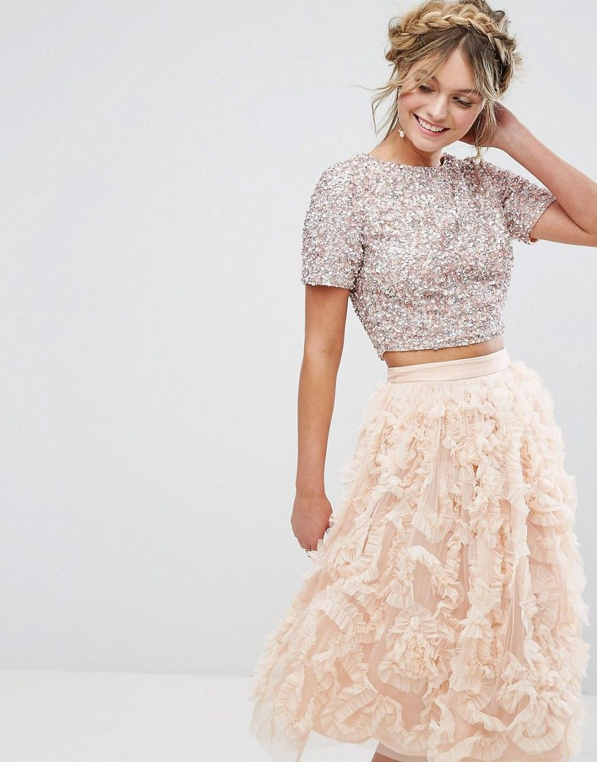 Lace u beads cropped top with embellishment and open back coord