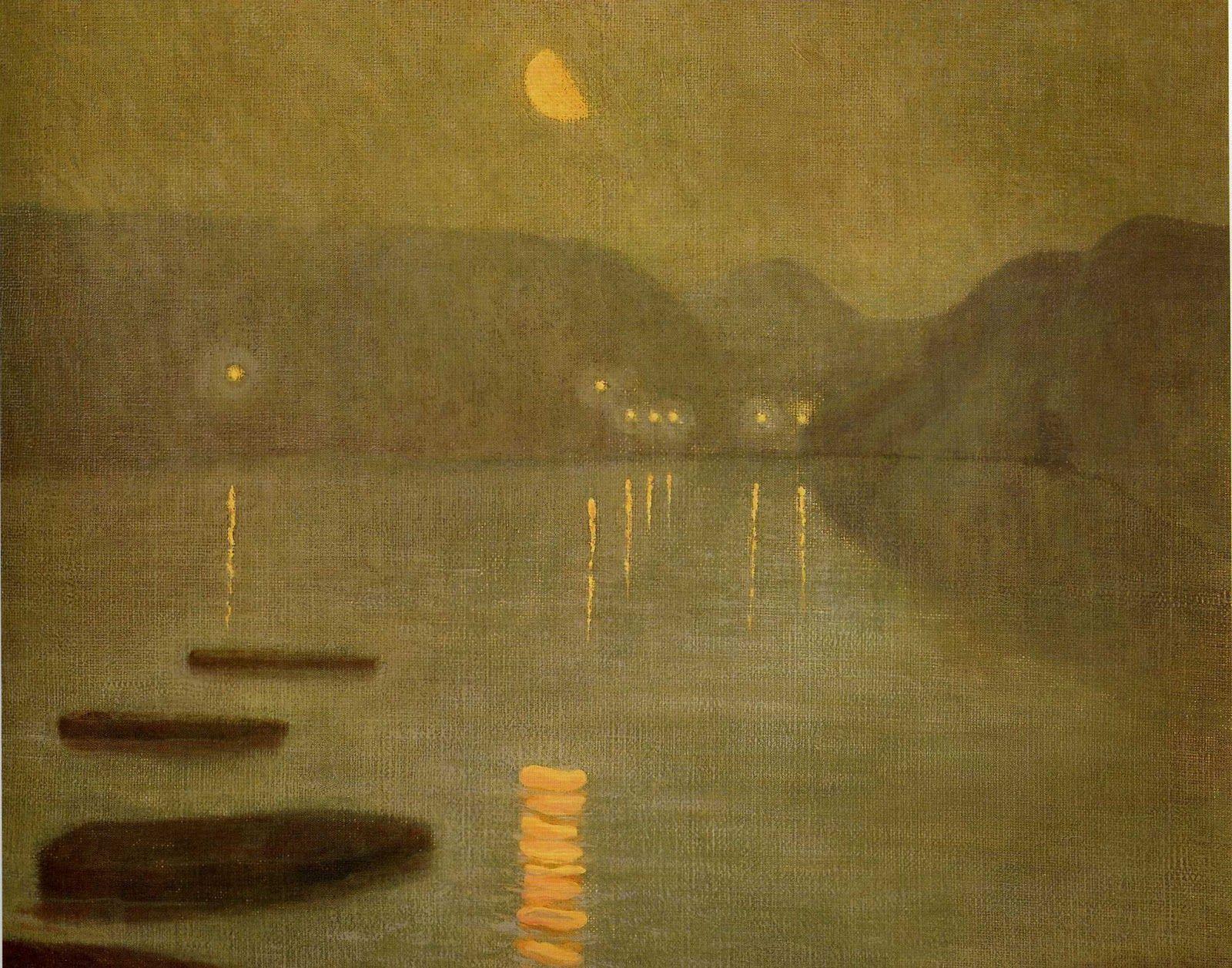 """Rising Moon, Tiburon"" by Granville Redmond, 1916"