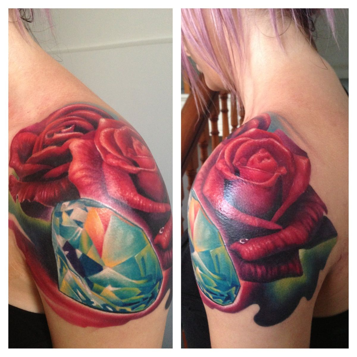 My roses and diamond tattoo :)