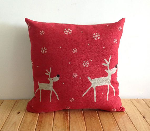 Red Deer Snow Winter Pillow Cover Christmas Gift by xinghuajiang