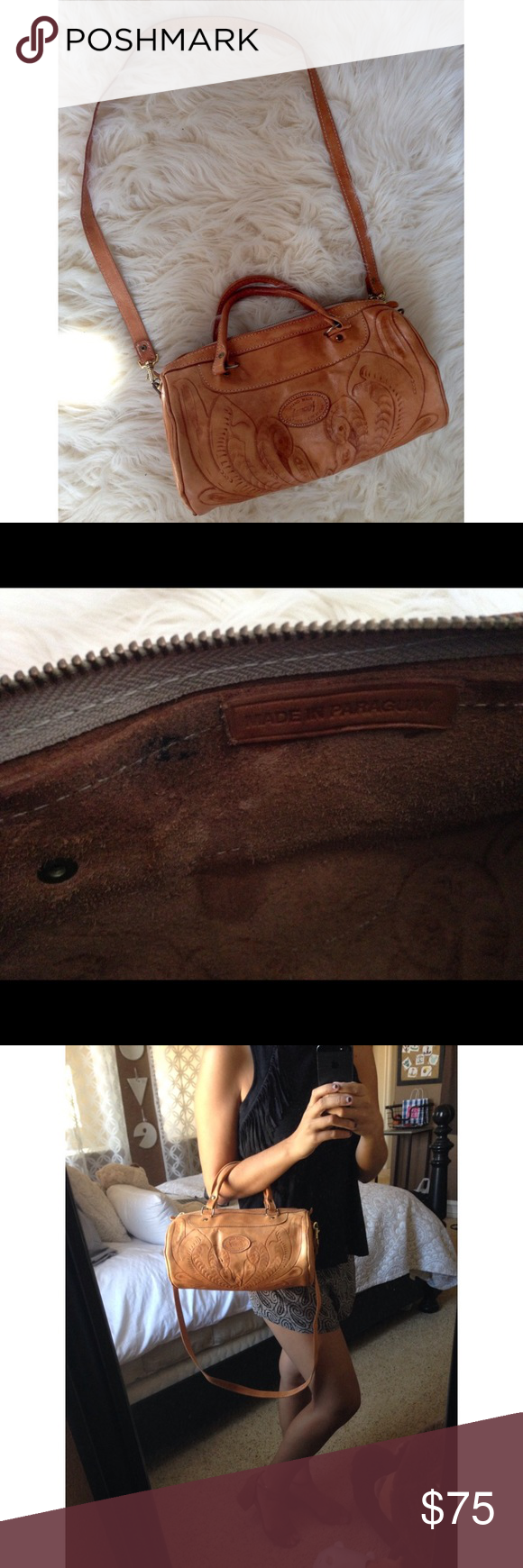 Sergio's Leather Creations Purse Sergio's Handmade Genuine Leather Purse. Made in Paraguay. Small mark on inside as pictures, otherwise good vintage condition! Has long removable shoulder strap and small handles. Cute western feel Bags