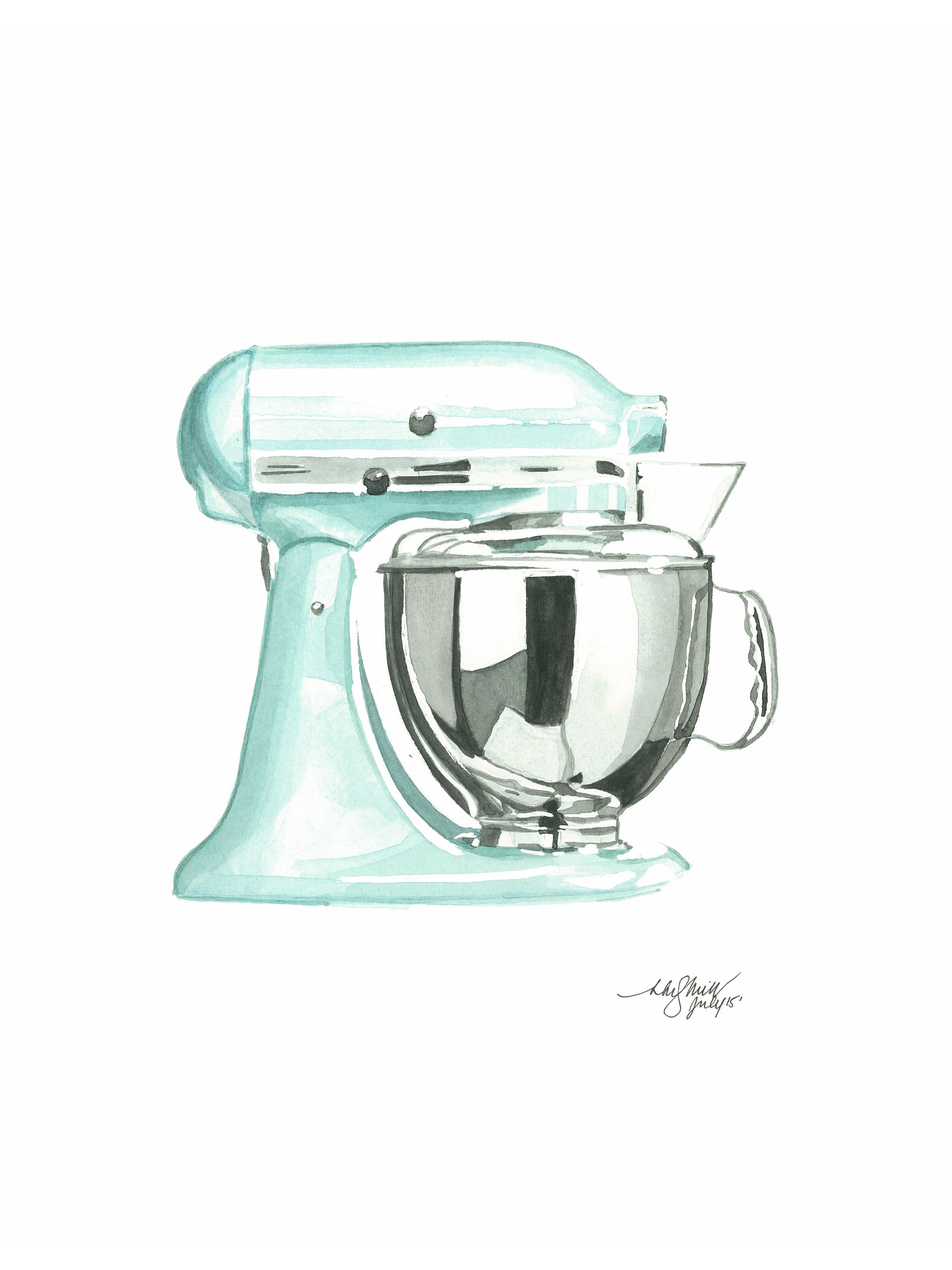 kitchen aid standing mixer sink black granite watercolour print | tools pinterest ...