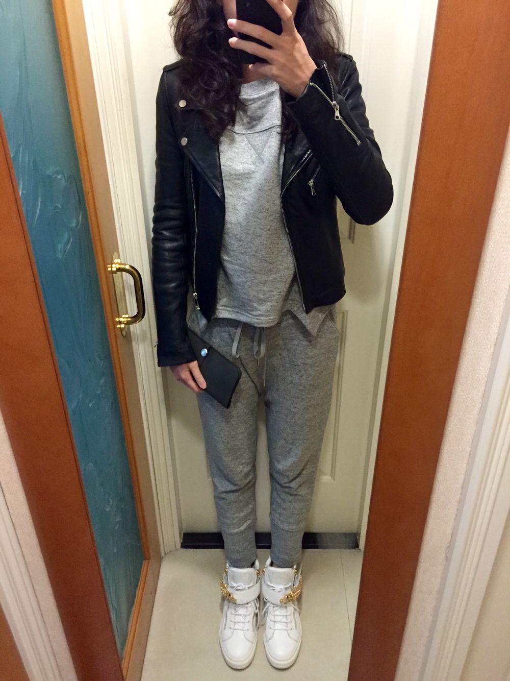 UNIQLO x Helmut Lang sweatshirt and pants, H&M leather
