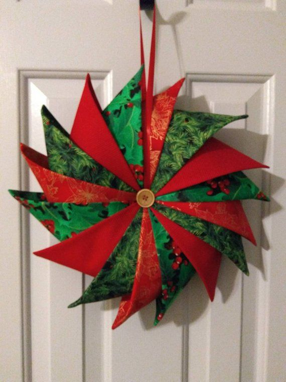 Photo of Folded Fabric Wreath, Pinwheel Wreath, Christmas Wreath, Door Hanging, Christmas Decor, Indoor Wreath, FFWRG1828