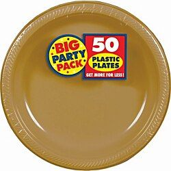 Amscan Plastic Plates 10 1 4 Gold 50 Plates Per Big Party Pack