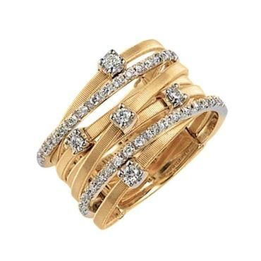 Marco Bicego Goa Multi-Row Two-Tone Diamond 3/8ctw Fashion Band - Size 7 - Item 19024900 | REEDS Jewelers
