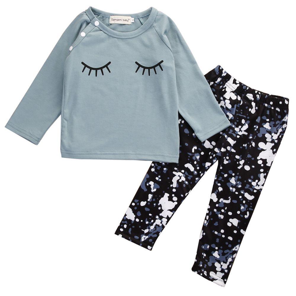 유아 아이 유아 여자 아기 가을 옷 옷 T 셔츠 + 바지 2 개 세트