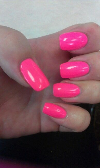 Hot Pink Square Acrylic Nails Pink Acrylic Nails Summer Nails Colors Fun Nail Colors