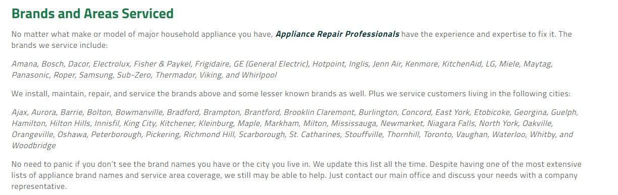 Appliance Repair Professionals 64 Hogan Court King City, ON L7B - areas of expertise list