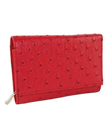 Damen Portmonaie Geldbörse Kunstlederbörse Rot Kleidung & Accessoires