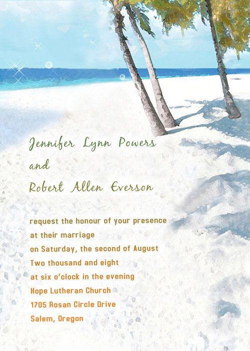 Modern Blue Beach Theme Printable Online Destination Wedding Invites Ewi