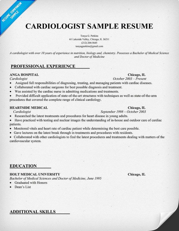 Cardiologist Resume Sample Http Resumecompanion Com