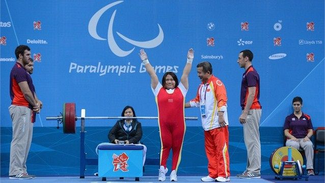 Tan Yujiao of China celebrates during thewomen's -67.50 kg Powerlifting on Day 5 of the London 2012 Paralympic Games at ExCeL