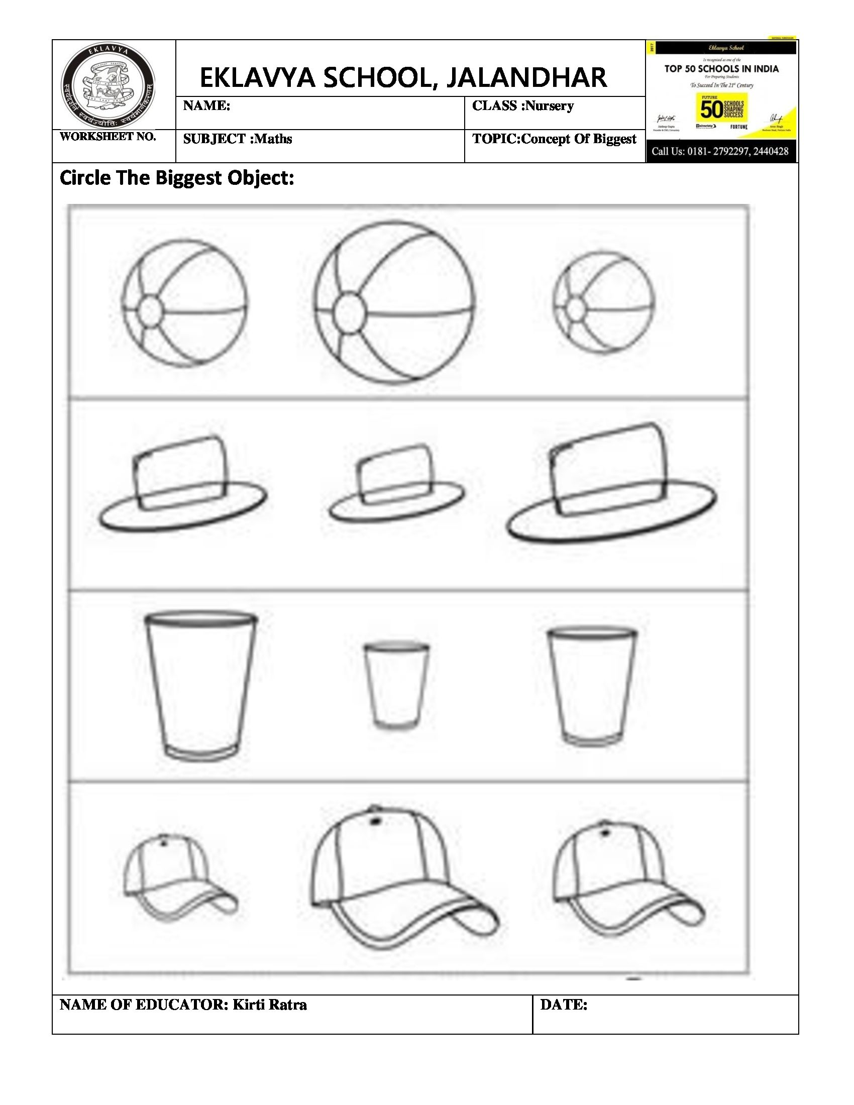 Worksheet Circle The Biggest Objects | Pre- Primary ...