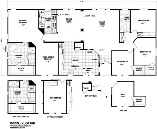 Cavco Durango Homes Xl Xl 3270b 4 Bed 2 Bath Retreat Mobile Home Floor Plans House Floor Plans Manufactured Homes Floor Plans