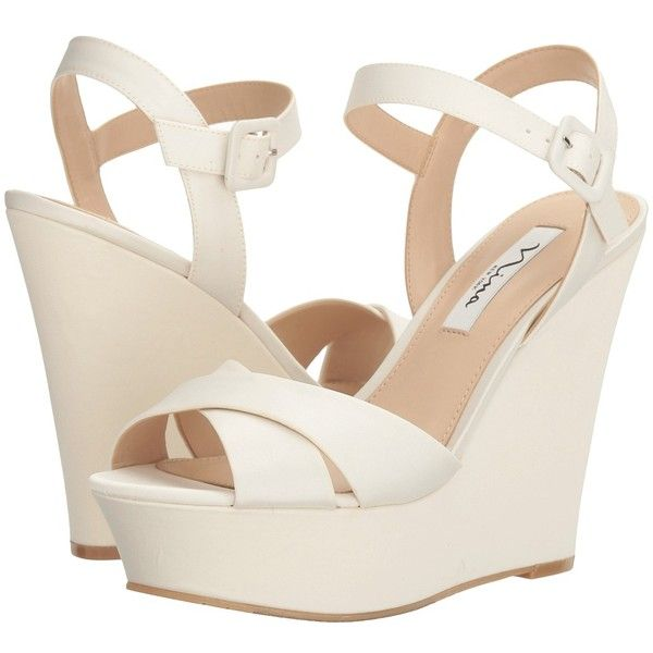 b70d26350441 Nina Jinjer (Ivory Luster Satin) Women s Wedge Shoes ( 59) ❤ liked on  Polyvore featuring shoes