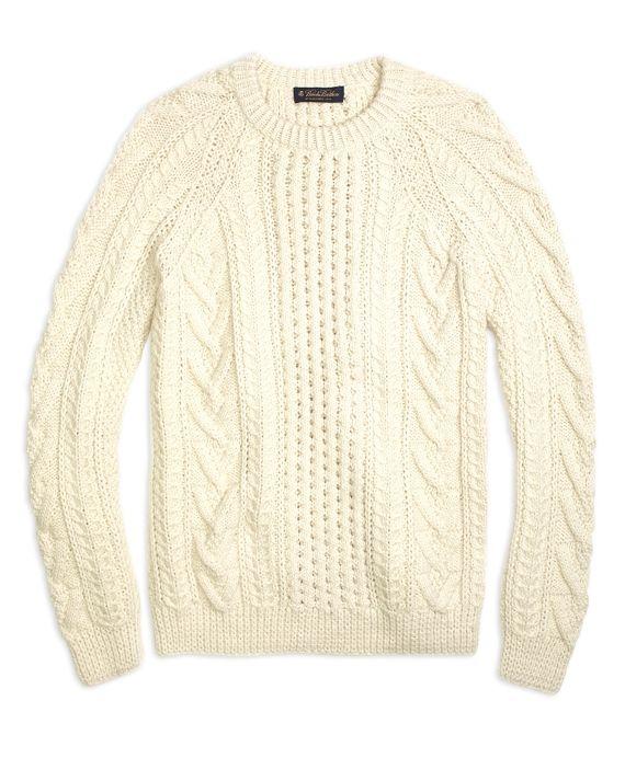 Men's Aran Cable Knit Cream Crewneck Sweater | Baby alpaca and ...